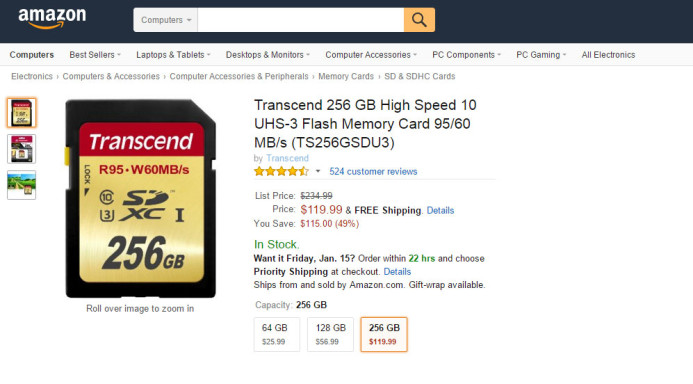 High-capacity SD cards cost more per-GB