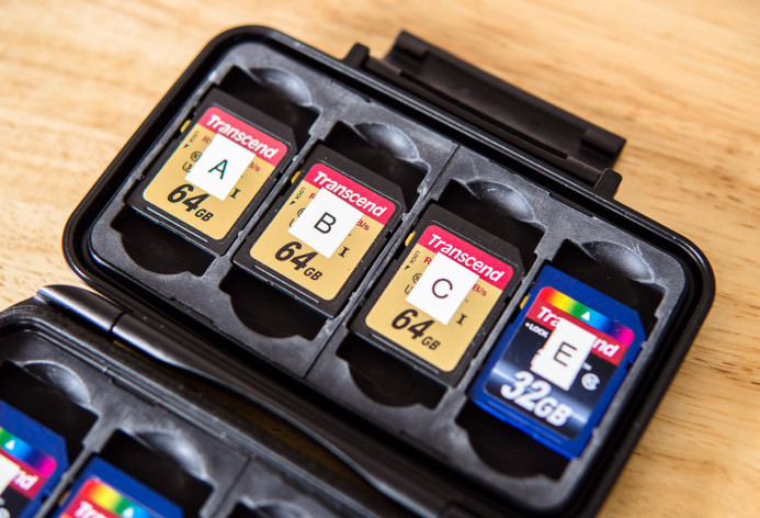 All memory cards clearly labeled