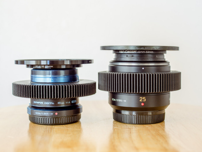 Native MFT lenses with seamless focus gears