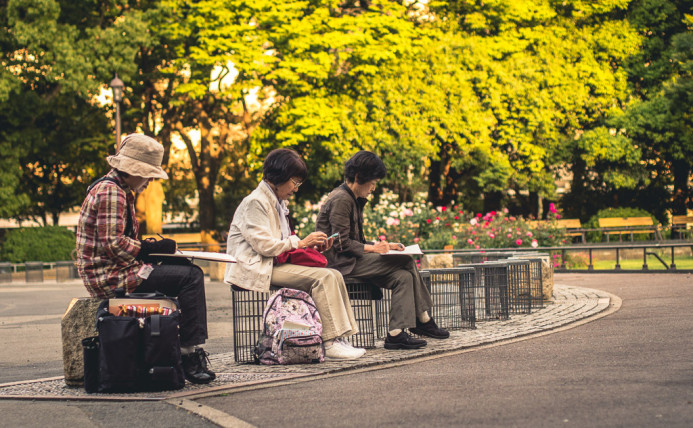 Artistic Obachans of Hibiya Park