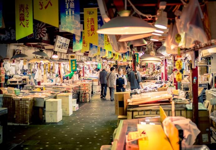 Fishmongers selling seafood