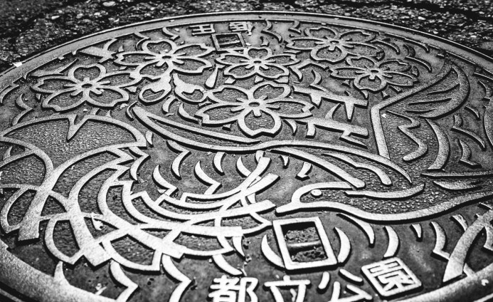 Manhole cover in Yanaka