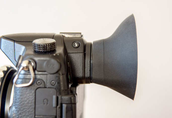 G-Cup pushes your eye further away from the GH4's EVF