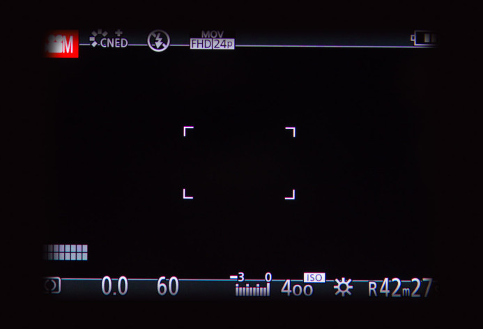 G-Cup blocks a full view of the GH4's EVF and causes vignetting