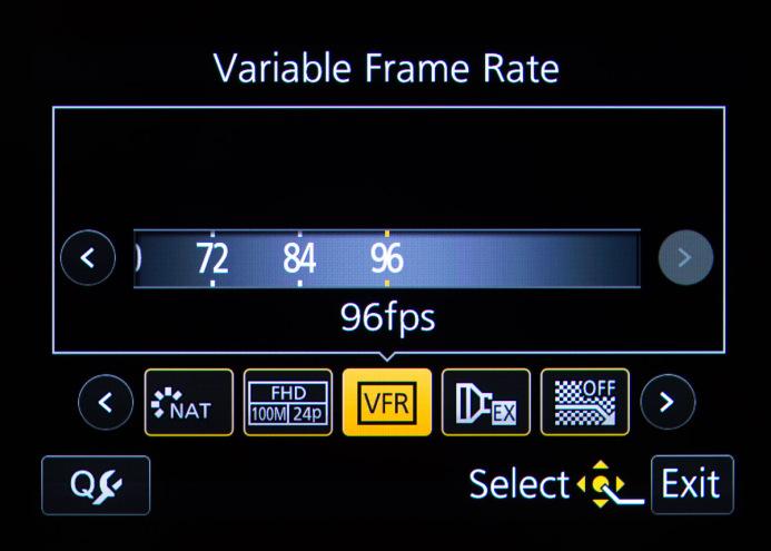 Panasonic GH4 Frame Rate Selection