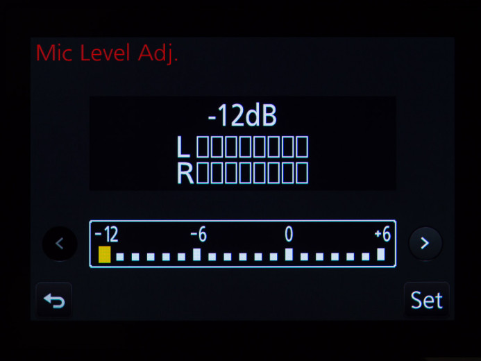 Set the GH4's audio gain to -12dB
