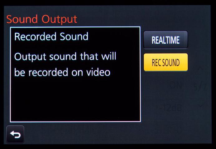 Set the GH4's sound output to Rec Sound