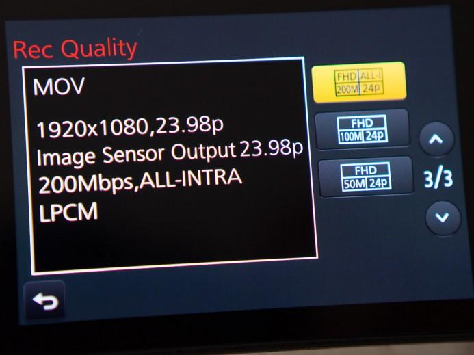 Panasonic GH4 200mbps mode