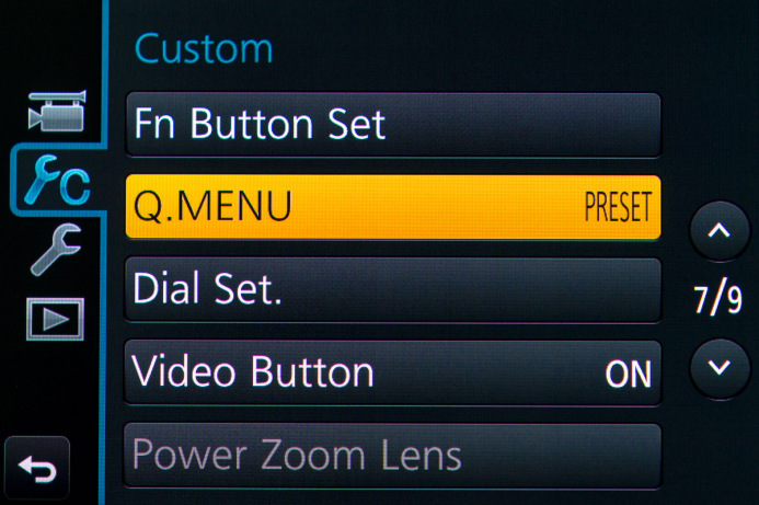 Preset Quick Menu