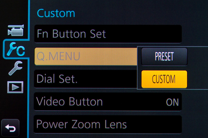 Switch to Custom Quick Menu