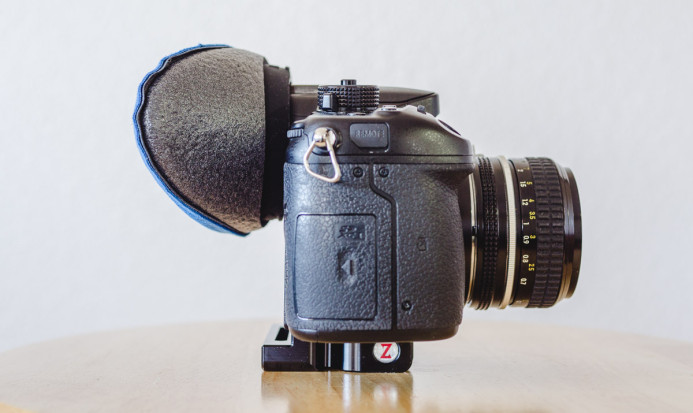VF-4 Eyecup with Bluestar cushion on the Panasonic GH4