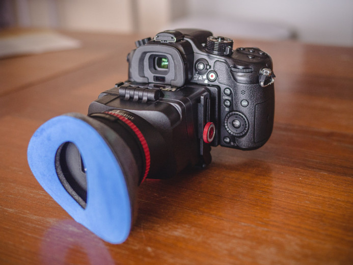 PNC VF-4 Loupe mounted on the Panasonic GH4