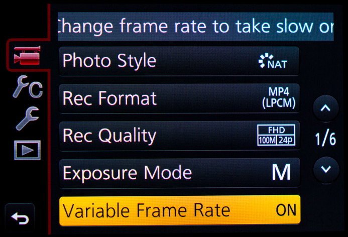 Variable frame rate is available when shooting in IPB
