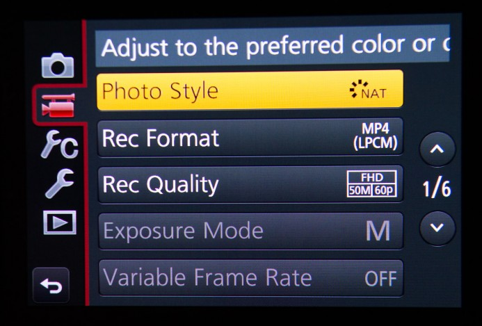 GH4 Picture Profiles Menu