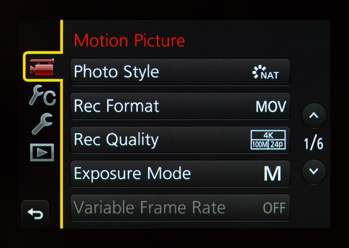 GH4 Motion Picture Menu