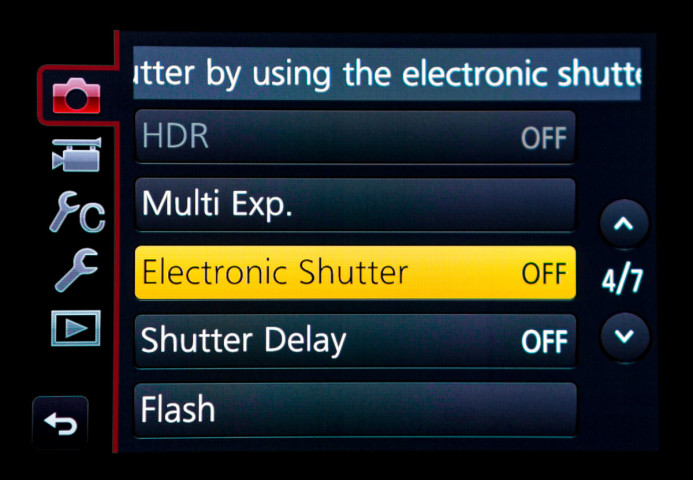 Electronic Shutter disabled