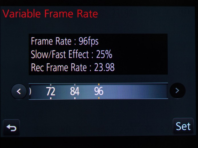 Variable Frame Rate Configuration