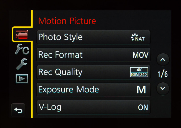 V-Log Menu Option