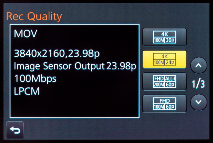 4K recording modes are accessible in Creative Video Mode
