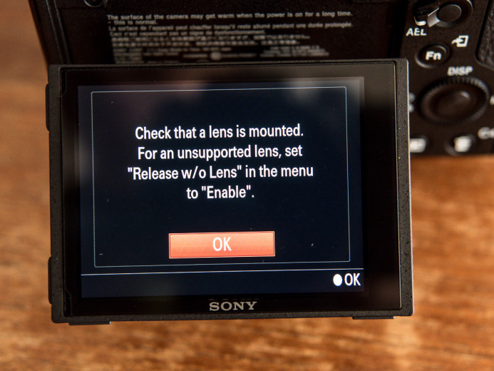 Default error message when using manual lenses on the Sony a7S I