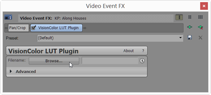 Load LUT file in VisionColor LUT Plugin