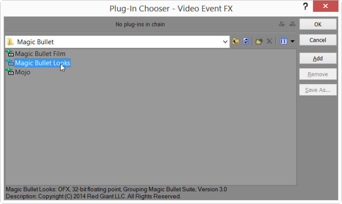 Add Magic Bullet Looks plugin to Event FX