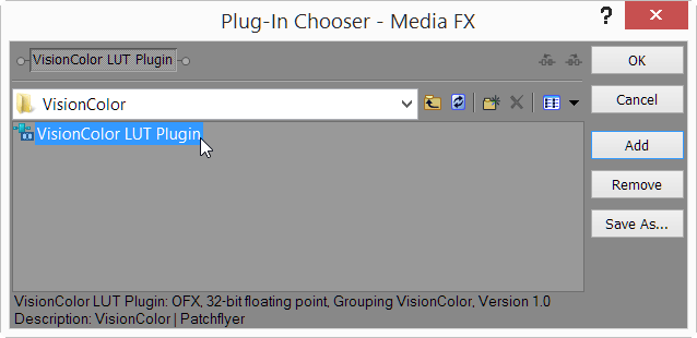 Add VisionColor LUT plugin to Media FX