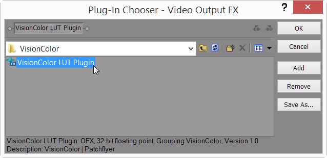 Add VisionColor LUT plugin to Project FX