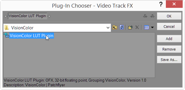 Add VisionColor LUT plugin to Track FX