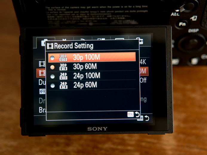Sony a7S II bitrates for different recording modes