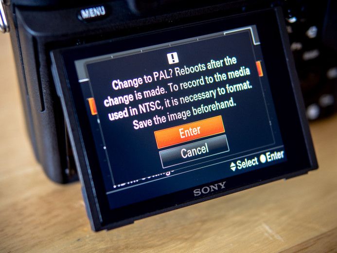 Memory card must be formatted when switching frequences on the Sony a7S