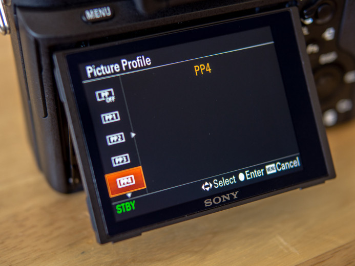 Unused space on Sony a7S II Picture Profile selection screen