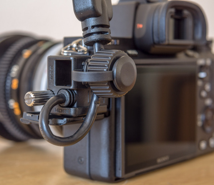 HDMI Cable secured with Sony a7S II cable pinch