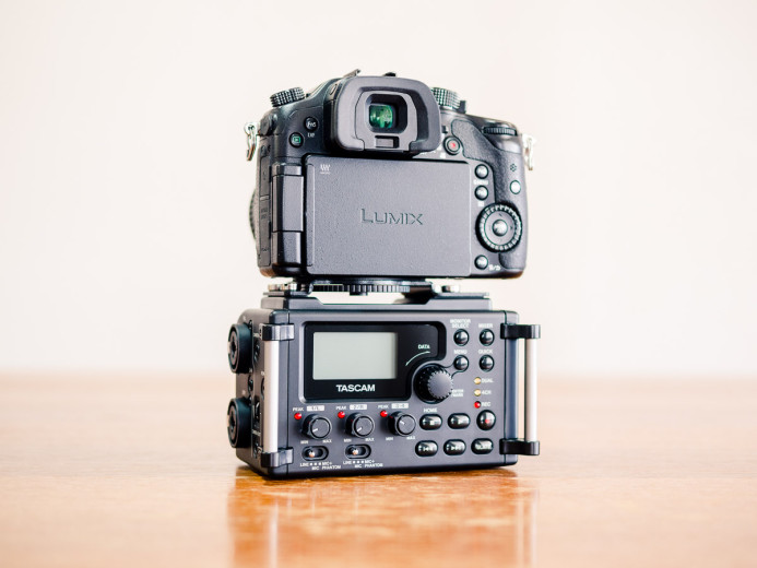 Tascam DR-60D Audio Recorder mounted under Panasonic GH4