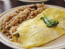 Fried Rice & Bacon Spinach Omelet