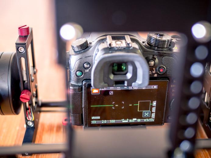 Camera's screen is visible through Birdycam 2's frame