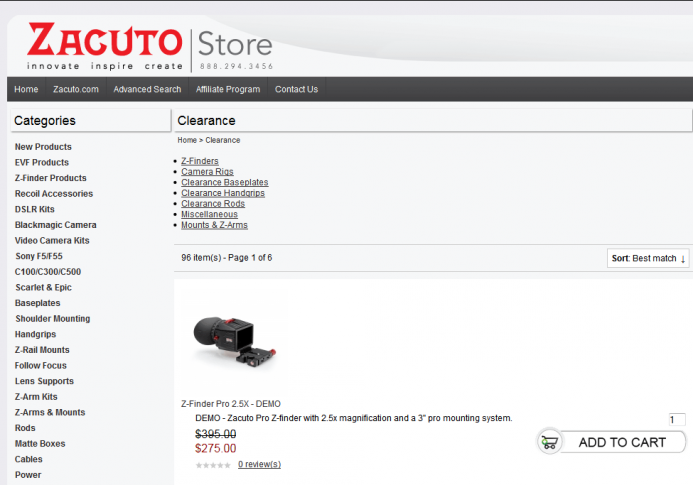 Zacuto Clearance Section