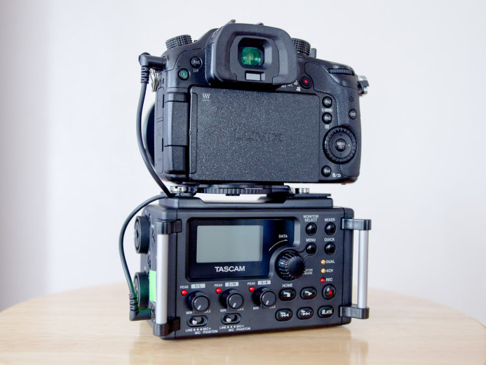 Tall camera setup with Tascam DR-60D