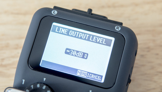 Zoom H5 Line Out Level set to -30dB